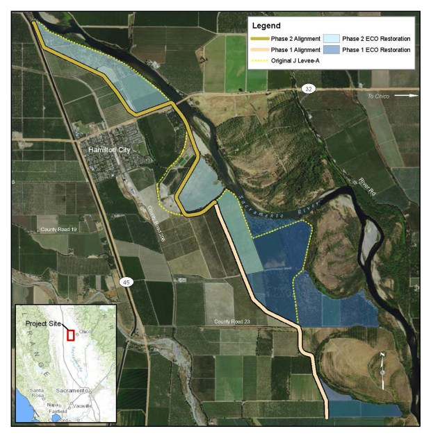Map of the Sacramento River and Hamilton City shows the existing J Levee (dotted yellow line), the line of the new levee, and habitat restoration areas. Phase one of the levee -- the southern part -- is complete, and restoration work is underway in that area now. Work on the new levee from Highway 32 north should start imminently.