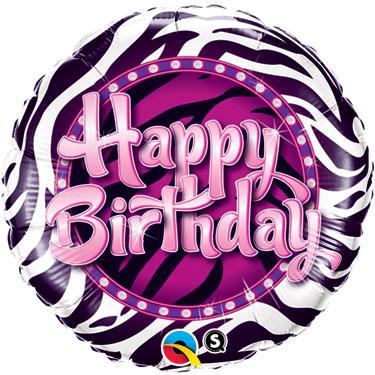 zebra print birthday balloon