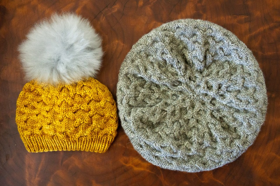 Yellow and Gray Astrphil hats showing side and top view