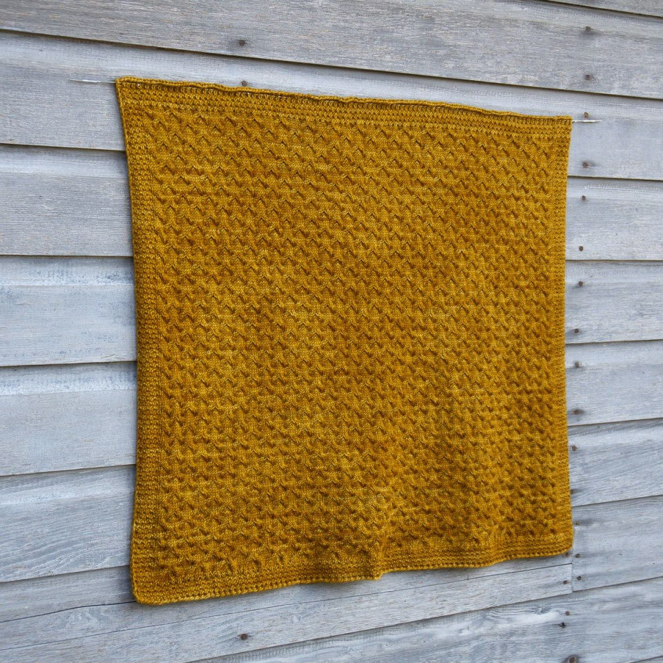 Astrophil Blanket in yellow DK weight yarn.