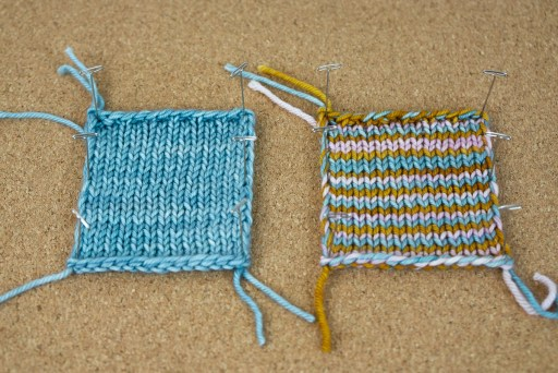 Two swatches side-by-side showing the double edging technique.