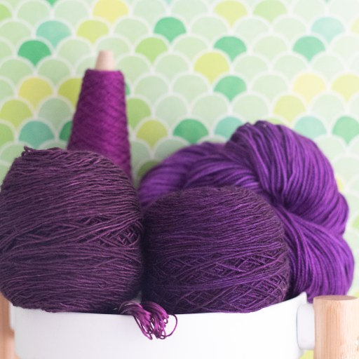 Purple yarns.