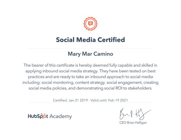 Social Media Certificate, HubSpot Academy