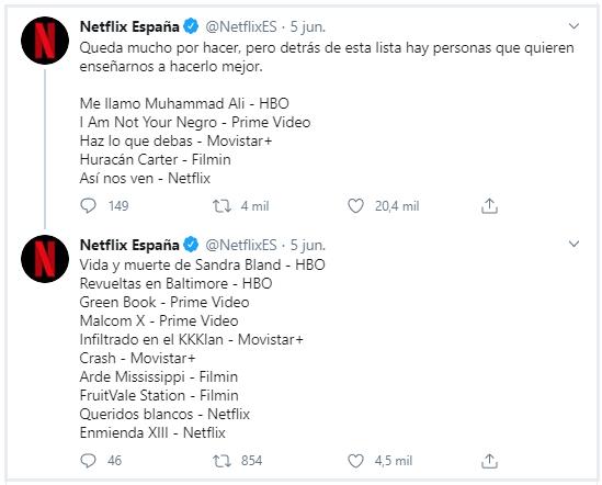 Imagen de Publicación en Twitter de Netflix