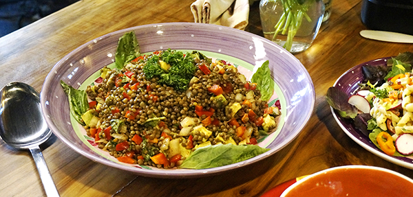Laura Theodore's French Lentil Salad Bowl with Sweet Peppers and Basil