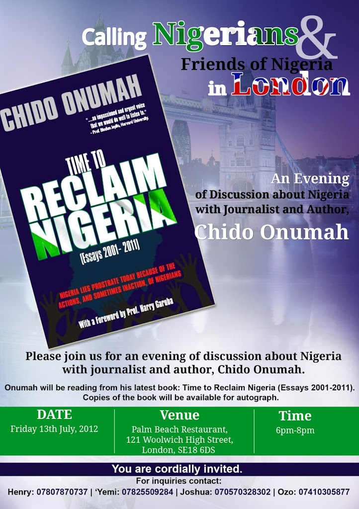 An evening of discussion about Nigeria with journalist and author, Chido Onumah