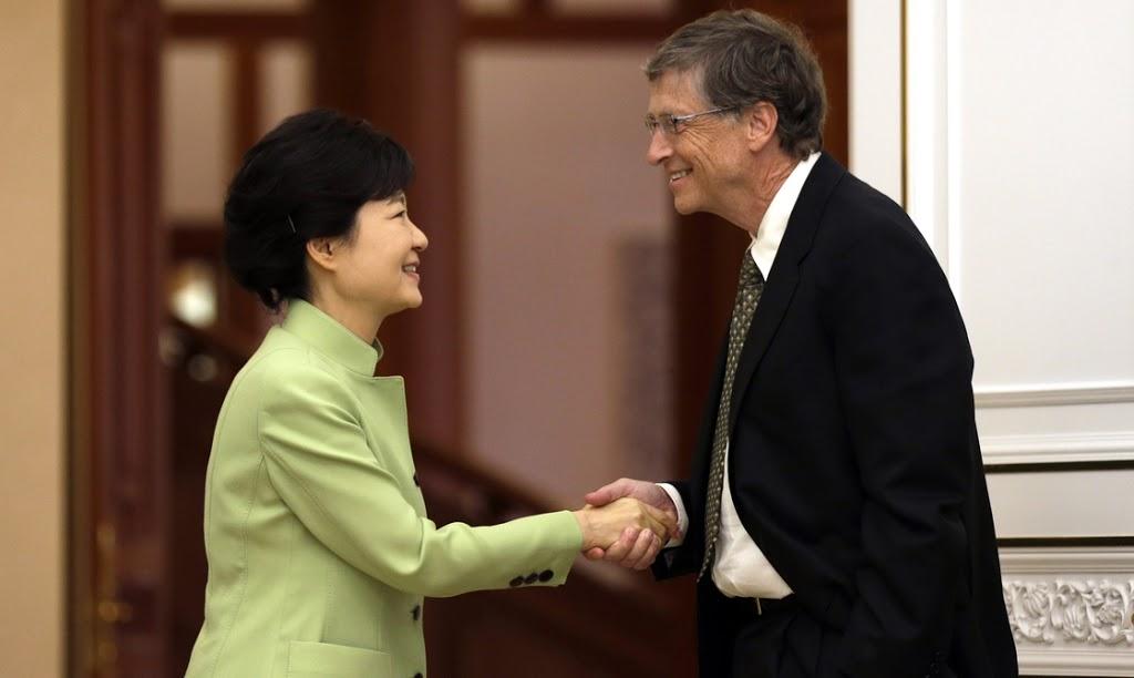 Bill Gates' handshake with South Korea's Park sparks debate