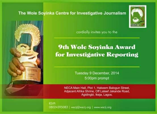 9th Wole Soyinka Award for Investigative Reporting holds Tuesday, Dec. 9 in Lagos