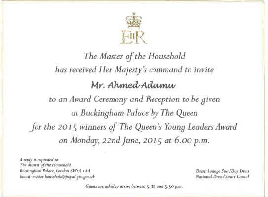 Nigeria's Ahmed Adamu invited by Her Majesty Queen Elizabeth II to the 2015 Queen's Young Leaders Award