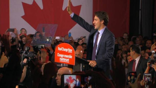 Justin Trudeau pledges 'real change' as Liberals leap ahead to majority government in Canada