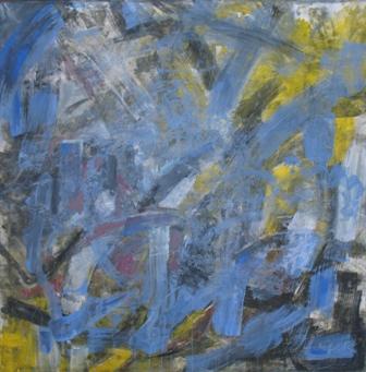 ohne Titel, 2010, Gouache und Papier auf Leinwand, 100 x 100 cm