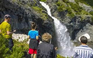 Ruten gehen lernen, wir üben an Sichtbarem. Wundervoller Wasserfall in Trafoi am Stilfser Joch