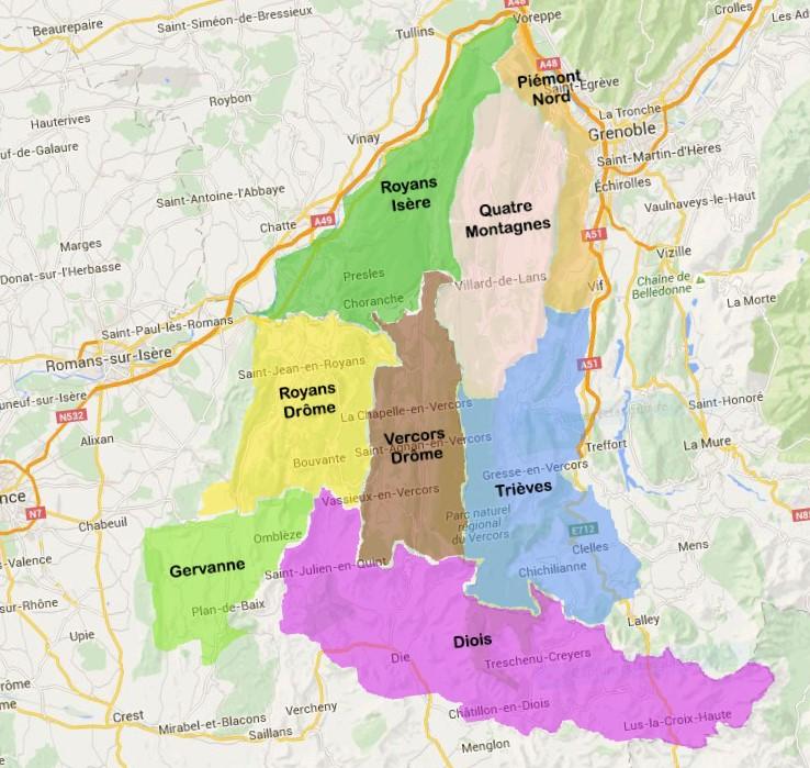Le Vercors et ses 8 régions