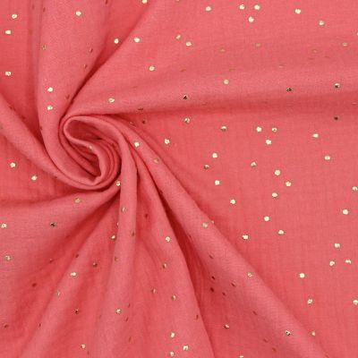 tissu double gaze de coton corail a pois dores