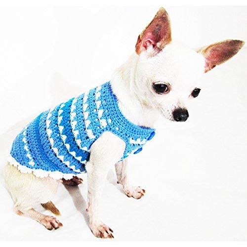 Blue Dog Clothes Handmade Crochet Unique Pet Clothing