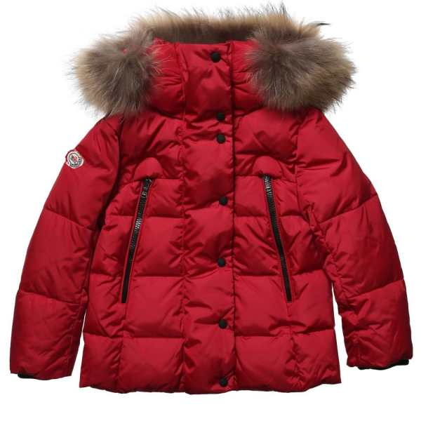 Moncler Red Padded Puffer Jacket With Fur Trim