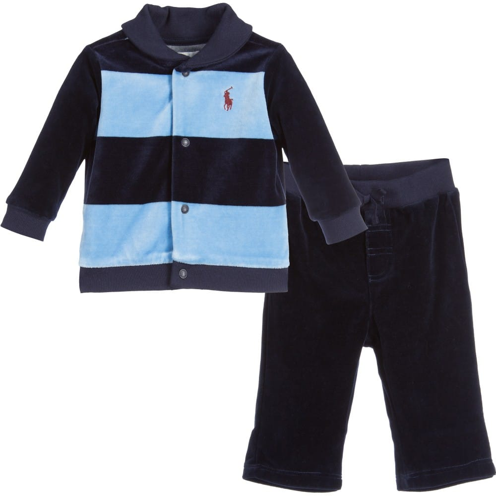 Ralph Lauren Baby Boys Blue And Navy Velour Tracksuit