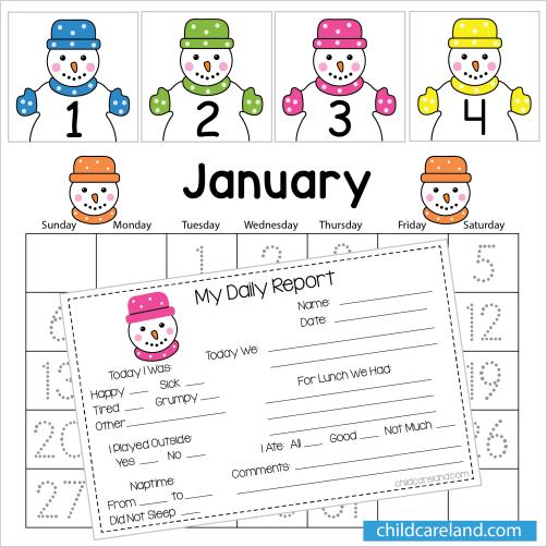 January Number Tracing Calendar