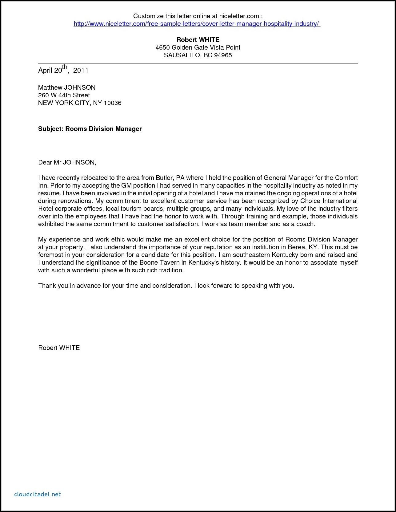 sample application letter for hotel and restaurant management