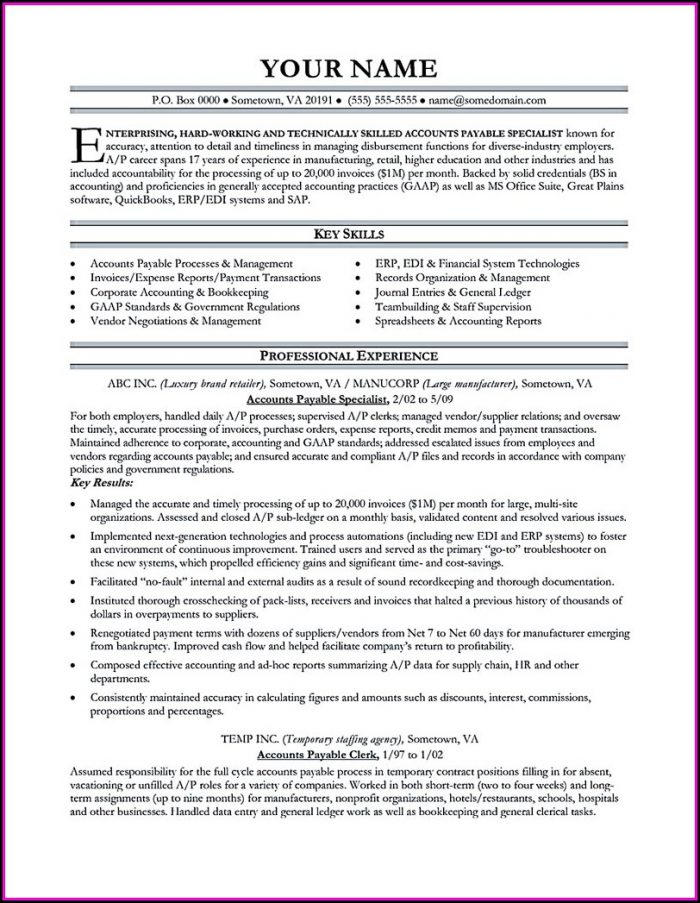 Accounts Payable Resume Template Microsoft Word