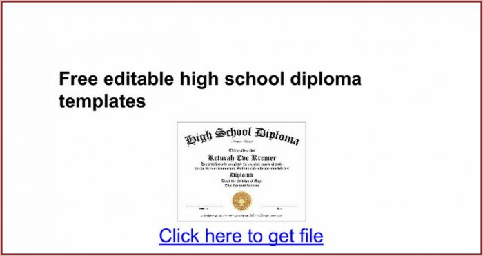 high school diploma templates for free