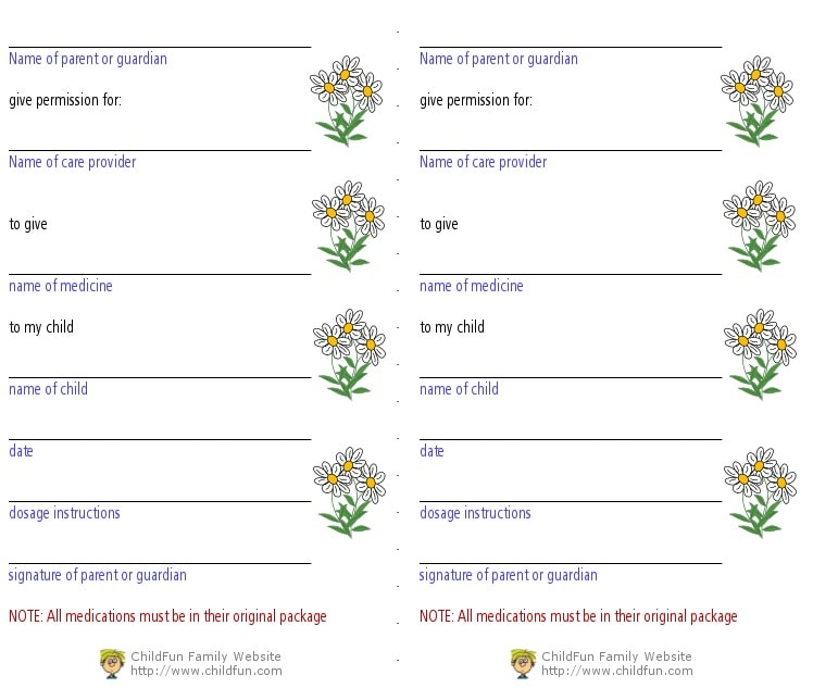 Child Care Medical Forms - Print for Free   ChildFun