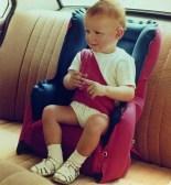 """Erstes Modell von Britax: Dem ersten Autokindersitz """"Lufti"""" ging aus guten Gründen schon schnell die Luft aus."""