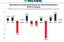 Entwicklung des Umsatzes im Schuhhandel in 2016 nach Berechnungen des BDSE