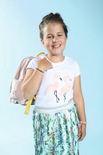 Emily mit Blue Effect mit Rucksack von Lässig beim Childhood-Business-Shooting auf der Kids Now im Sommer 2018