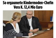Bild-Zeitung zum Proessauftakt der Stuhrer Kindermodeketten-Inhaberin Vera K