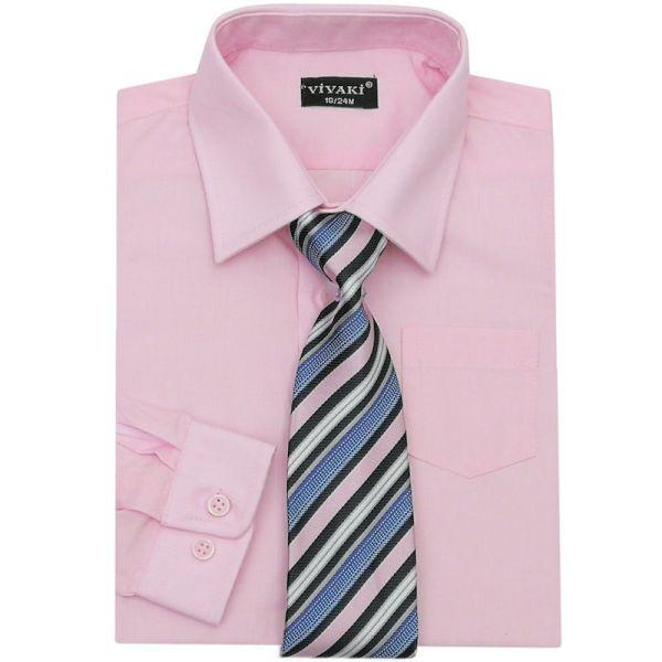 Boys Pink Formal Shirt & Tie Box Set