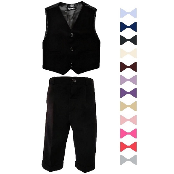 Boys Black 3 Piece Bow Tie Suit
