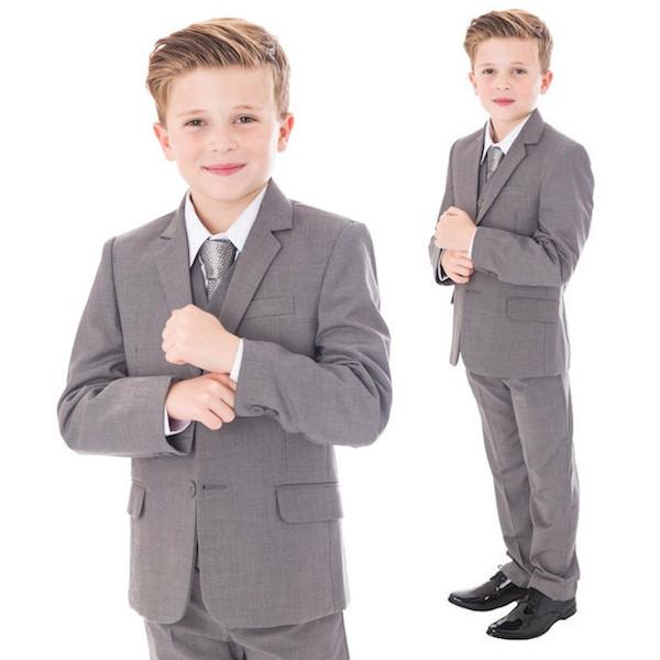 boys light grey 5 piece jacket suit