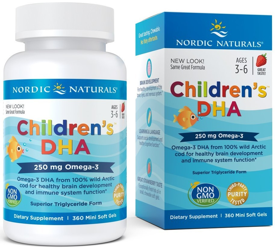 Children's DHA, 250mg Strawberry – 360 softgels