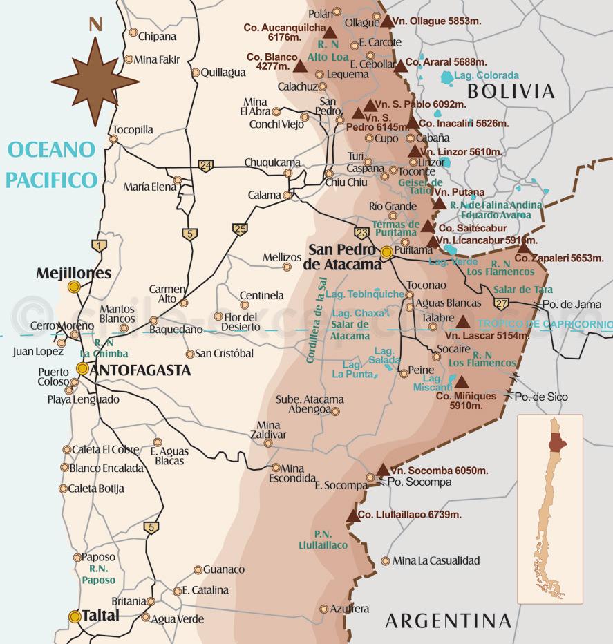 Carte région de San Pedro de Atacama - Map. mapa