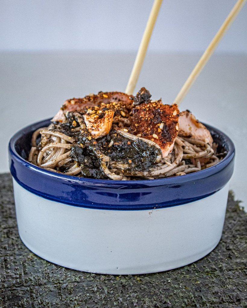 seaweed pesto with smoked salmon