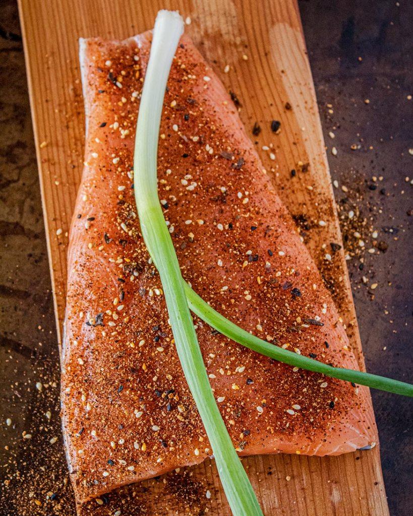 salmon prep with togarashi