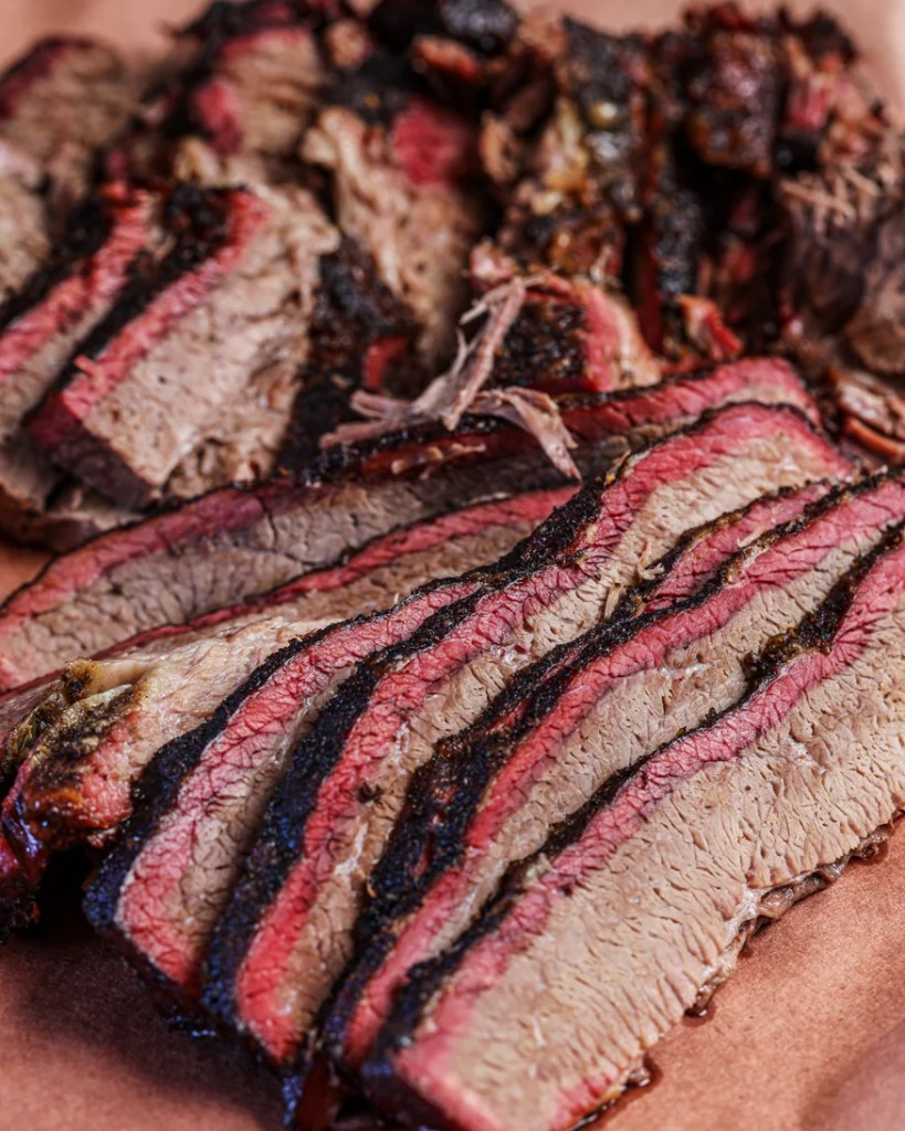 smoked brisket, sliced and ready