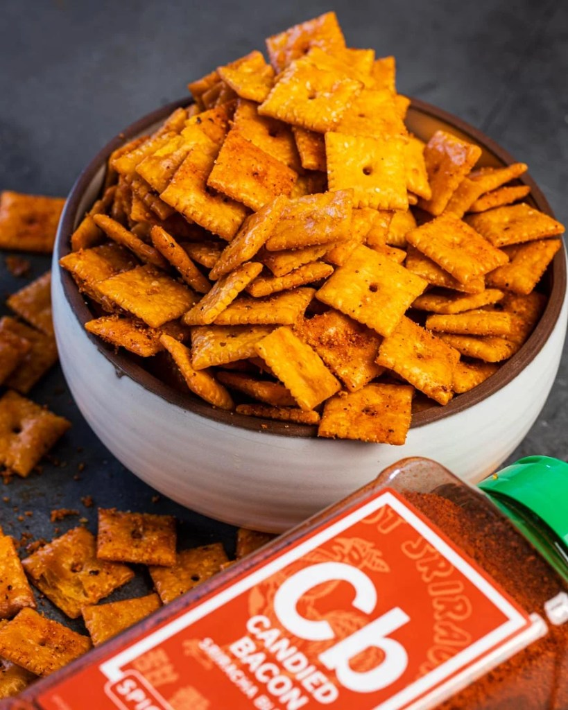 spiceology candied bacon sriracha blend, with the smoked cheez-its