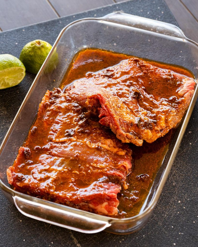 Marinating skirt steak with the chipotle coffee sauce