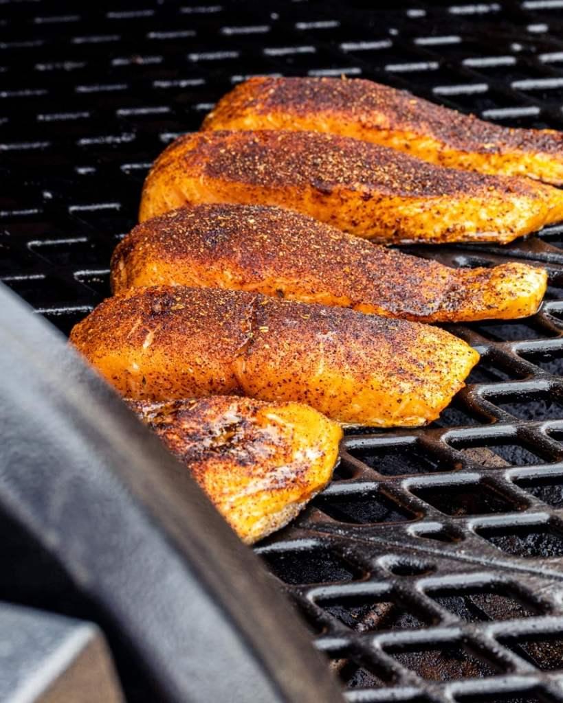 Hot smoked salmon, smoking at 250F on a pellet smoker.
