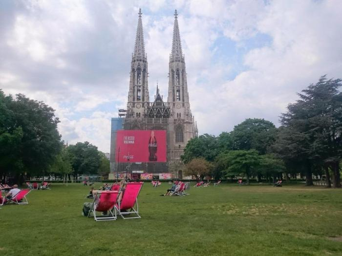 Votivkirche in Vienna with Coca-Cola ad