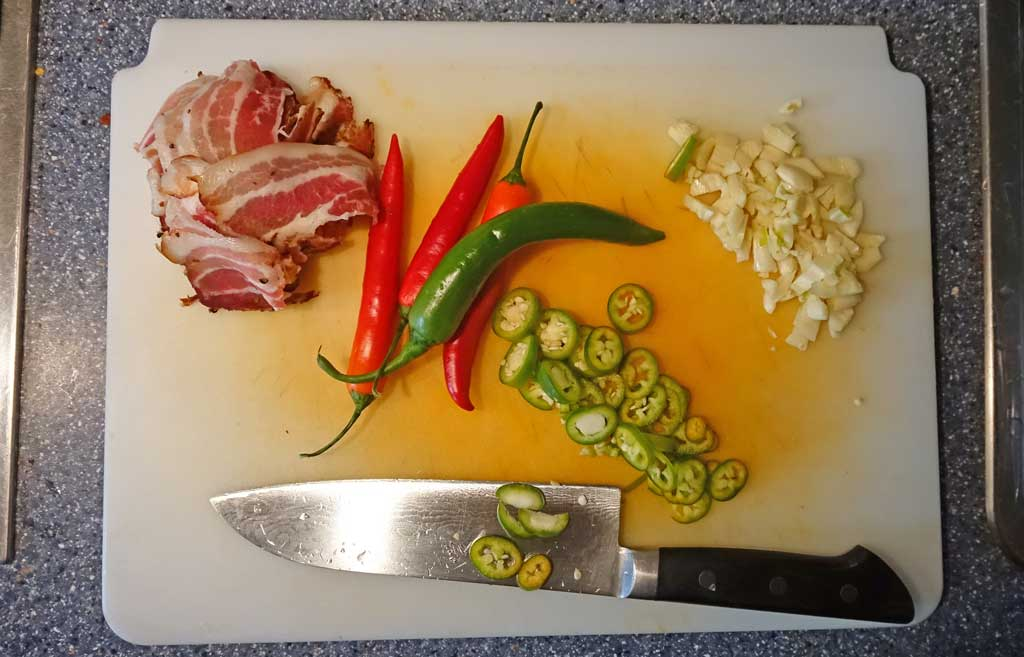 Ingredients for bacon, Hunan-style