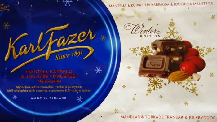 Fazer Winter Edition Milk Chocolate with Almonds, Cranberries, and Christmas Spices