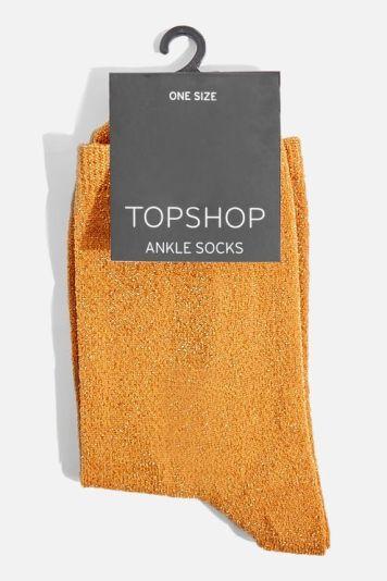 Topshop Mustard Glitter Socks £3.50