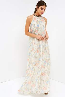 FLORAL HALTER MAXI Was: £45.00 Now £18.00 (Delivery from £1.99)