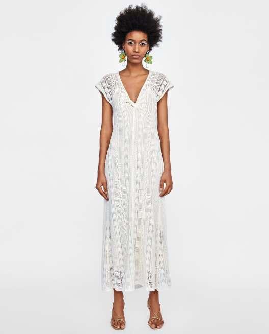 V-NECK CROCHET DRESS £29.99