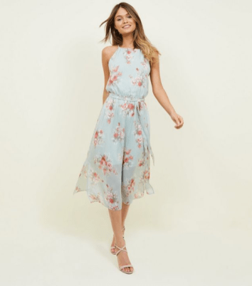 Mint Green Floral High Neck Midi Dress £22.99