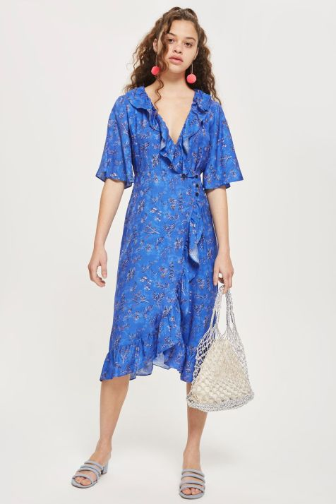 Floral Jacquard Midi Wrap Dress Was £46.00 Now £35.00