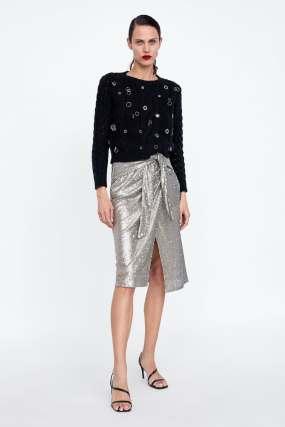 Zara Sequin Tie Skirt £49.99
